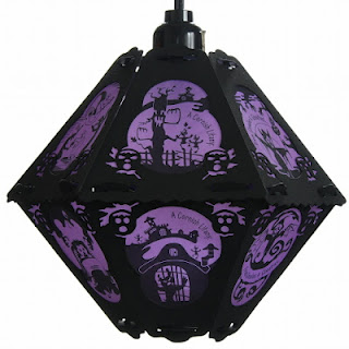 Purple and black Halloween lantern in vintage pendant style design with Cornish Litany art by Bindlegrim