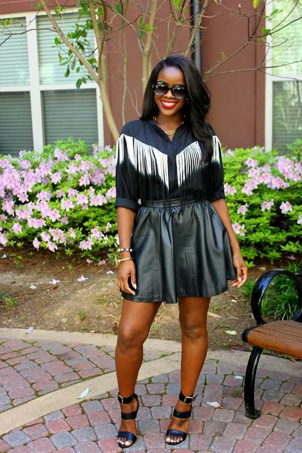 fringe trend, all black, leather