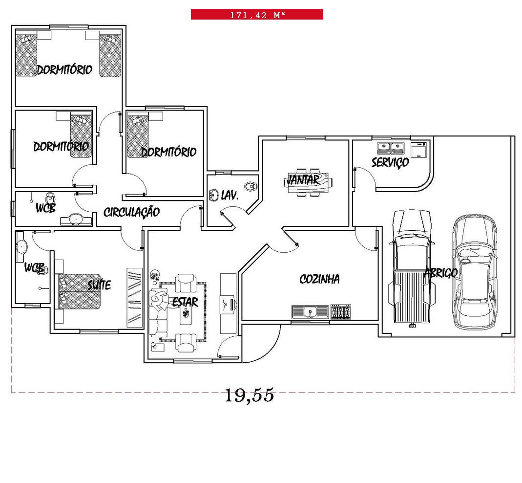 Só Projetos Grátis: Projeto grátis de uma casa com 171 42 M² #BE0D1E 1069 988