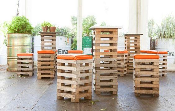 Banquinhos de sobras de madeira