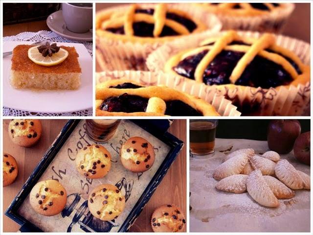 μηλοπιτάκια με ζύμη κουρού, muffins βανίλιας με κομματάκια σοκολάτας, ραβανί Βέροιας light edition, πάστα φλώρα