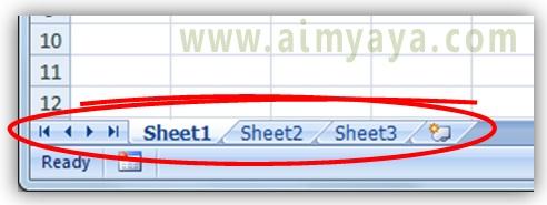 Gambar: Contoh tampilan daftar (tab) worksheet di microsoft excel