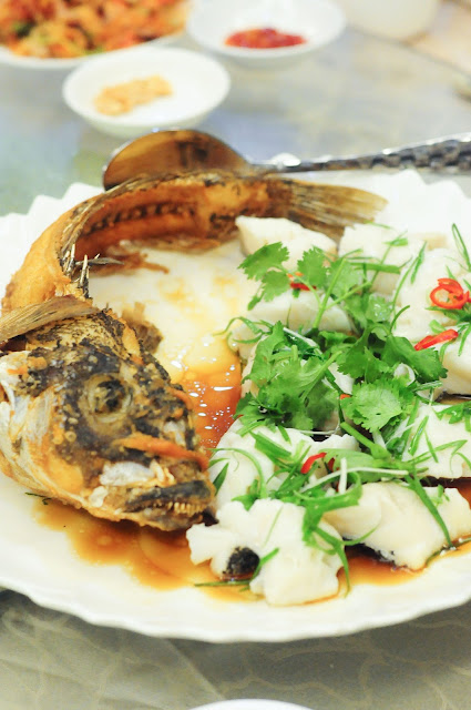 Steamed Wild Cod Fish Fillet accompanied with deep-fried Cod Fish Head and Fish Tail with Superior Soya Sauce in HK Style