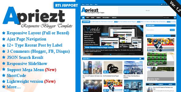 Apriezt - Responsive Magazine News Blogger Templates
