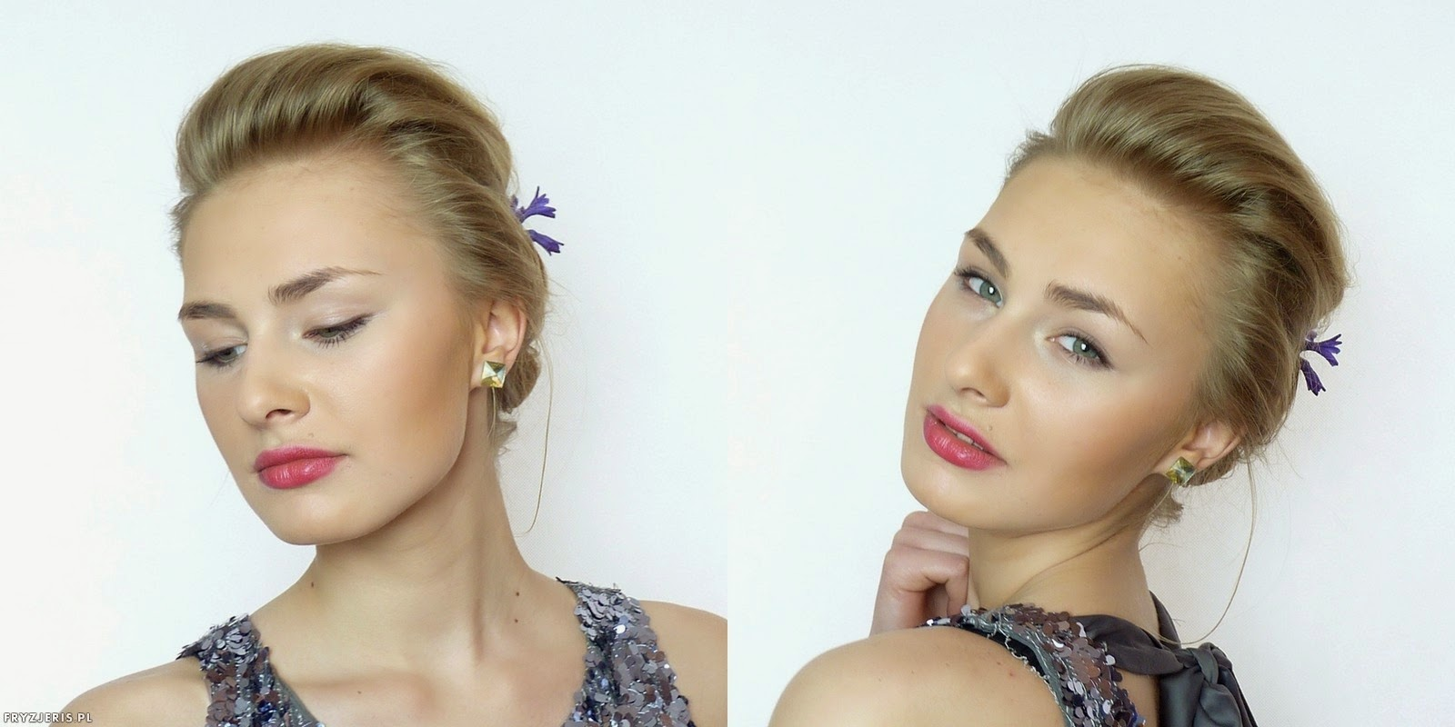fryzury ślubne - upięcie z kwiatami 4