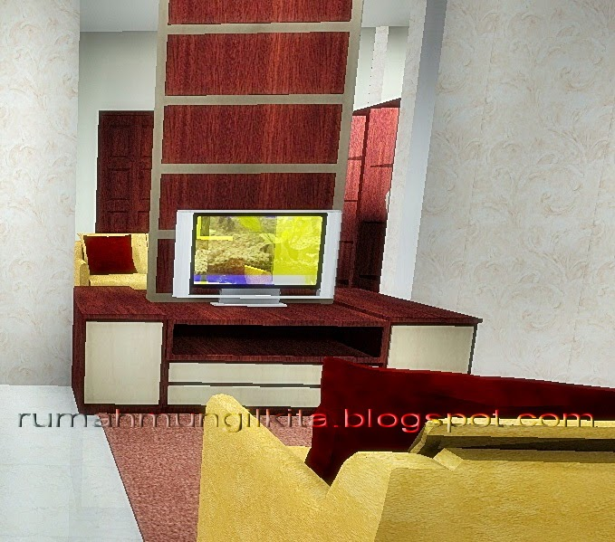 rak tv miimalis simpel dengan panel kayu