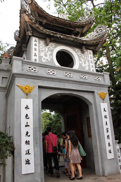 The rear of the tower view of Ngoc Son Temple as you pass through the main entrance at Hoan Kiem Sword Lake in Hanoi, Vietnam