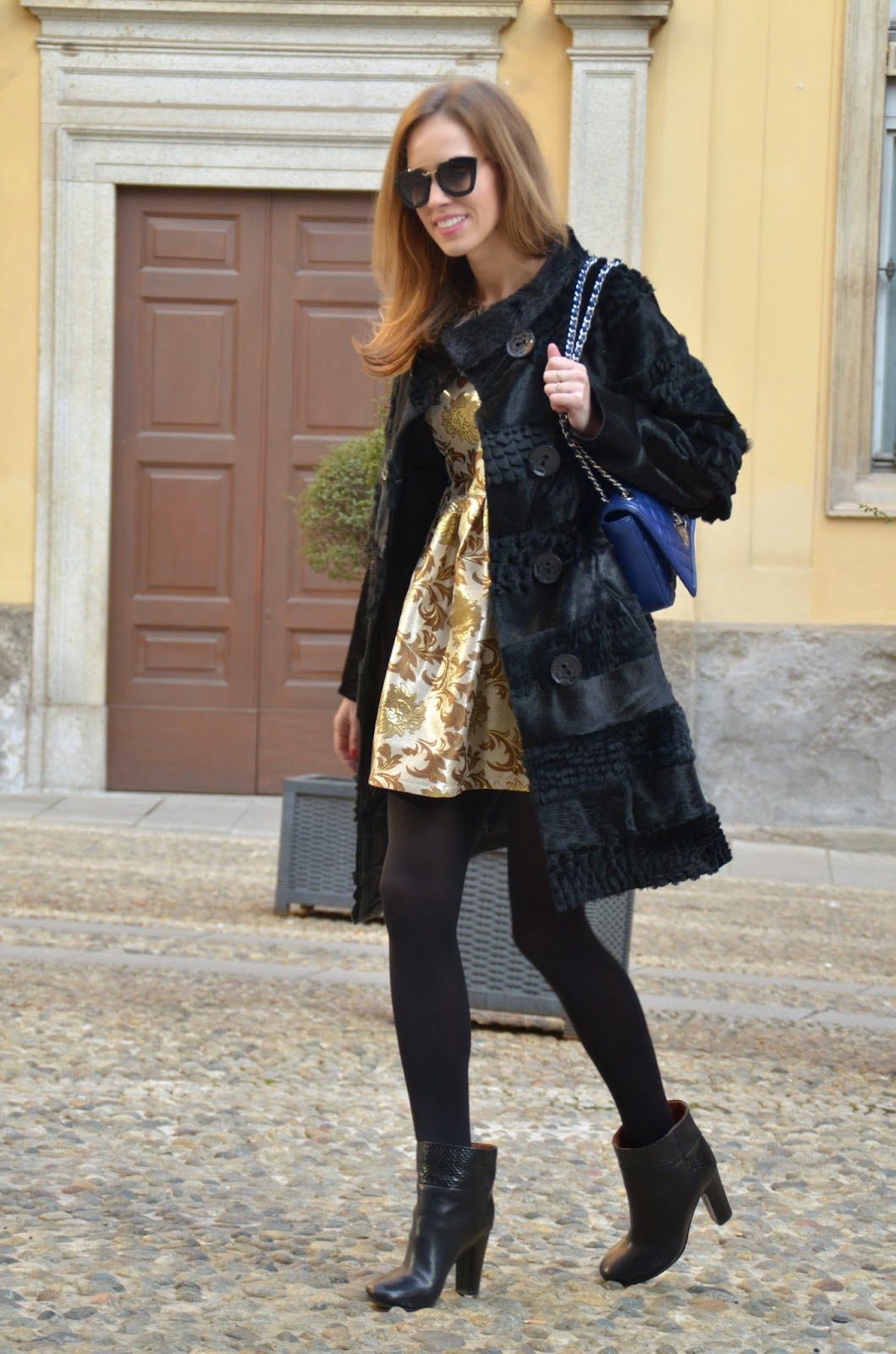 black-fur-coat-golden-skater-dress-prada-cinema-sunglasses-chloe-boots kristjaana mere