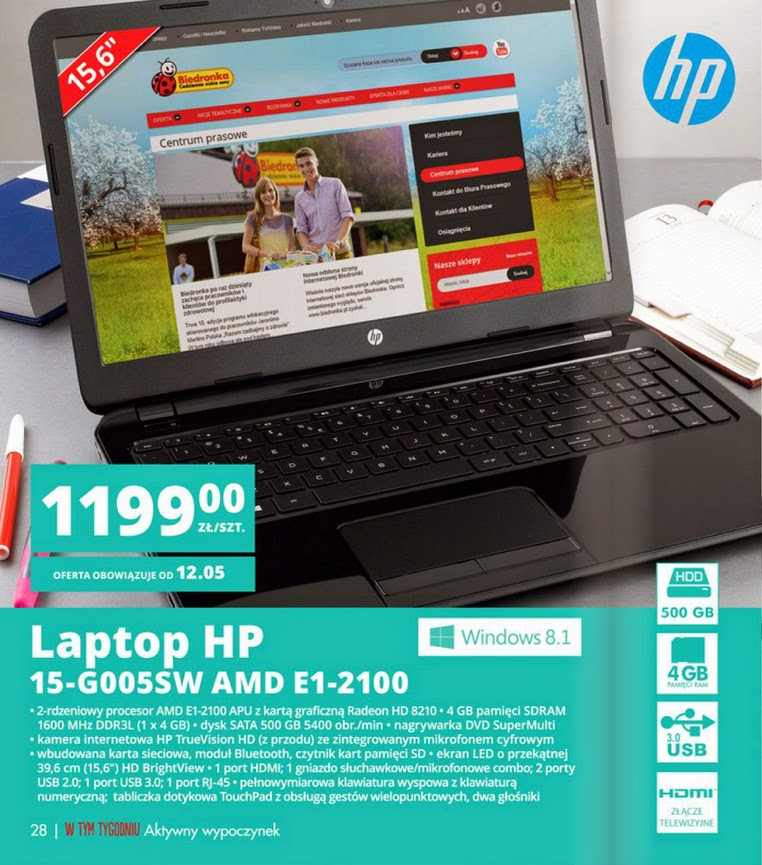 Laptop HP 15-G005SW AMD E1-2100 z Biedronki