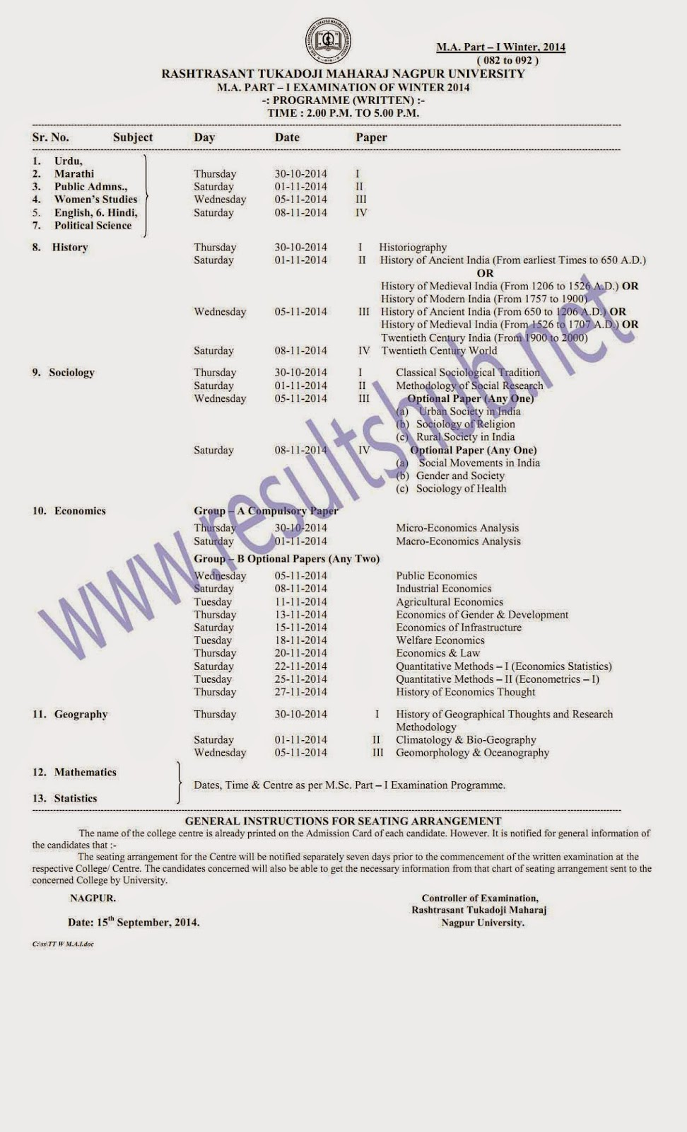 MA Part 1 Winter 2014 Timetable RTM Nagpur University