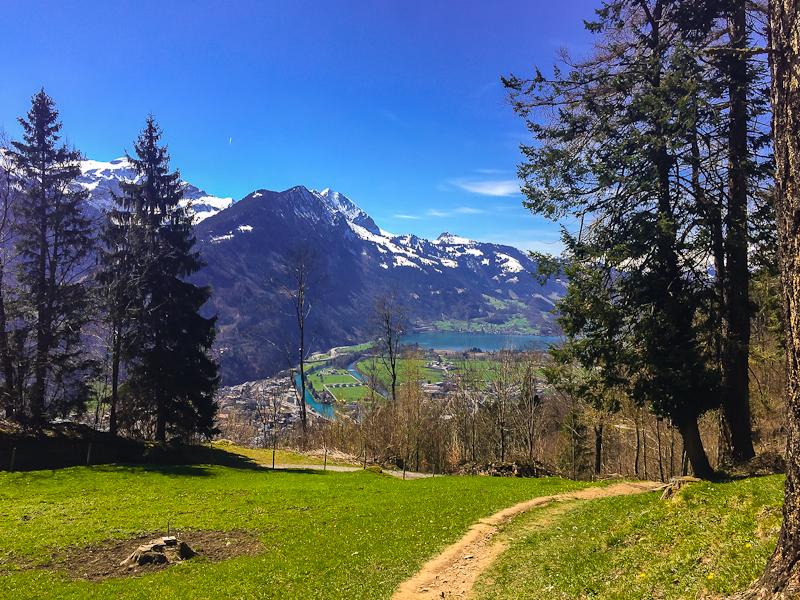 View of lakes and interlaken from hiking Harder Klum in Interlaken Switzerland