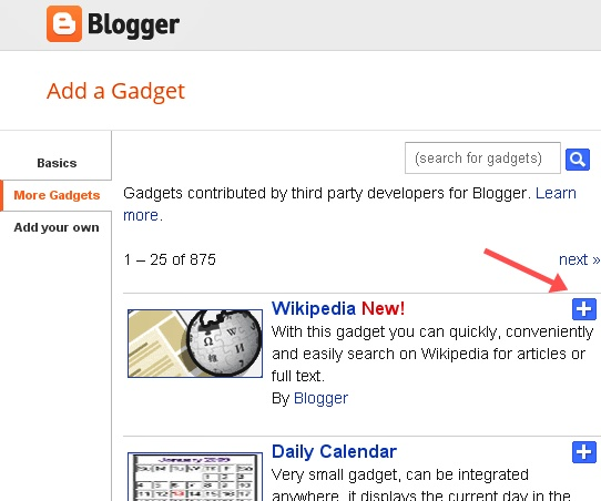 Wikipedia Search Box Widget In Blogger