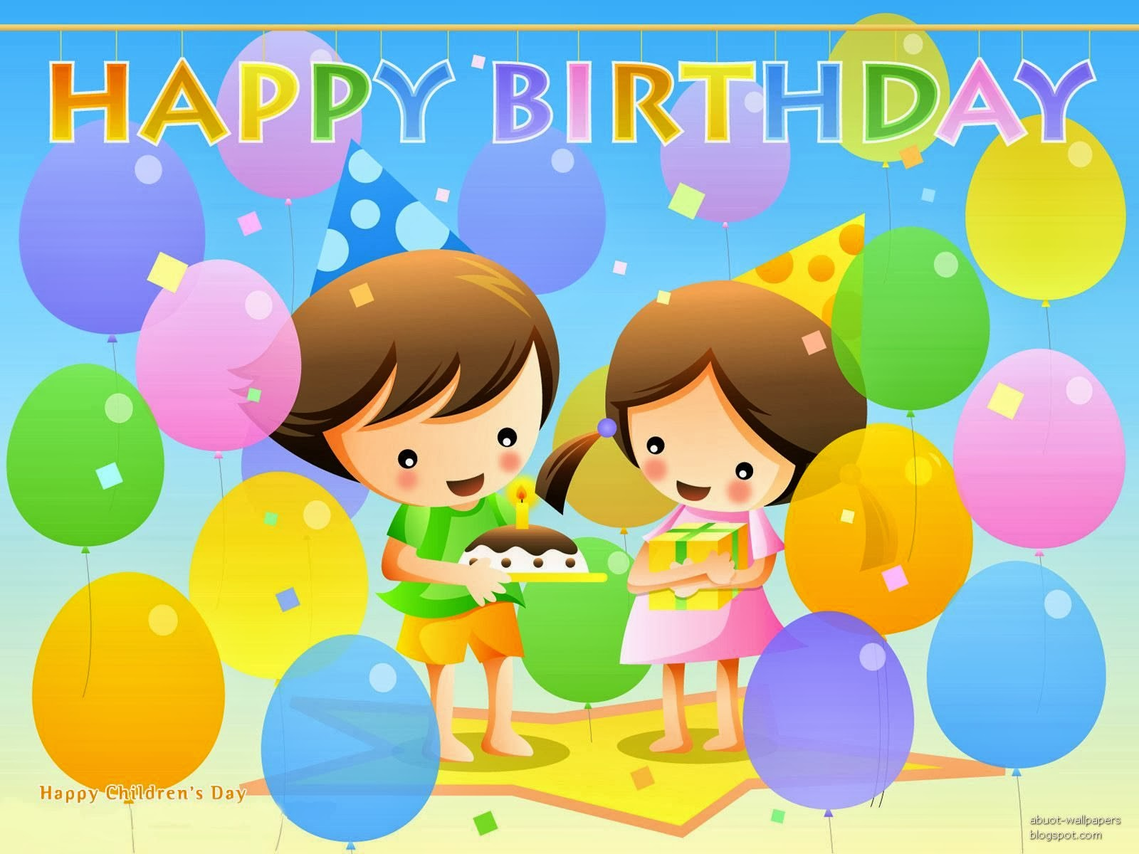 Best wishes for children magnificent happy birthday card for kids best wishes for children magnificent happy birthday card for kids with cartoon and balloons kristyandbryce Gallery