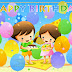 Best wishes for children : Magnificent Happy Birthday card for kids with cartoon and balloons