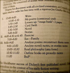James Dickey's writing schedule