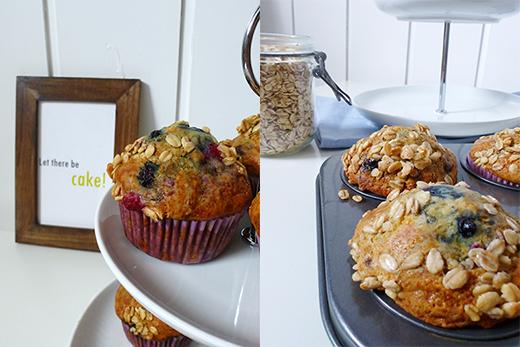 Muffins, Beeren, Rezept, vegan, Agavendicksaft, ohne Zucker, Knusperflocken, vegan, Blog