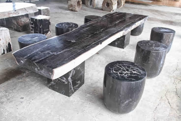 Rustic dining table indogemstone for Petrified wood furniture for sale
