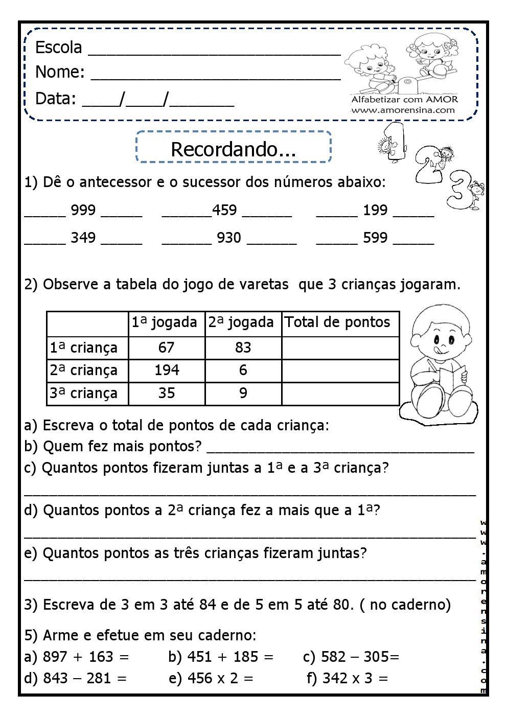 Super ATIVIDADES DE MATEMÁTICA PARA O 3º ANO ~ Alfabetizar com AMOR AD74