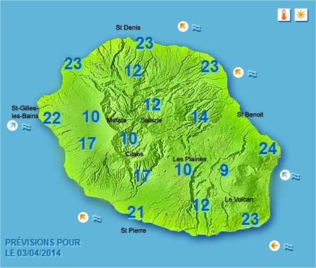 Prévisions météo Réunion pour le Jeudi 03/04/14