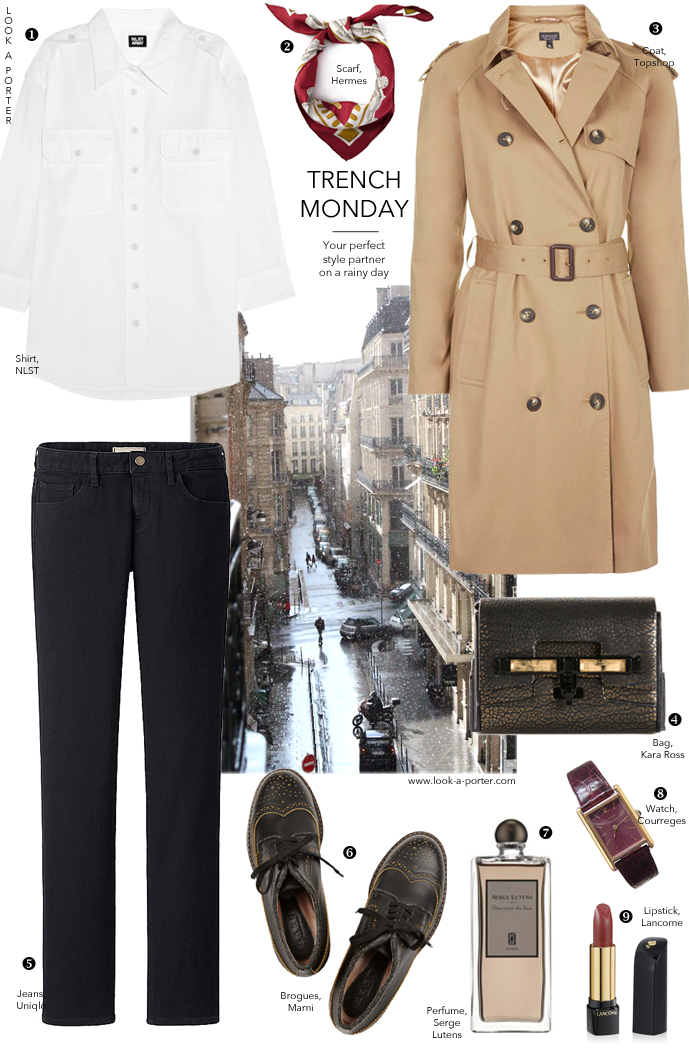 Another way with a trench coat for a rainy day... Via look-a-porter.com, style & fashion blog