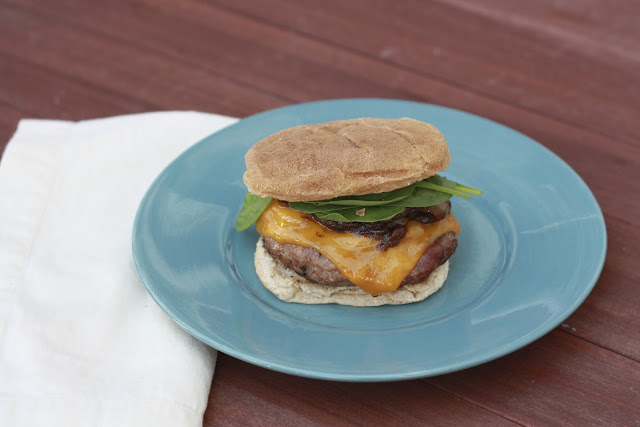 Kentucky Style Turkey Burgers with Redeye Bourbon Onions and Cheddar | The Sweets Life
