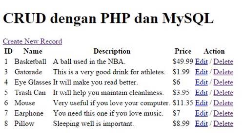 Tutorial PHP & MySQL : CRUD Bagian 1
