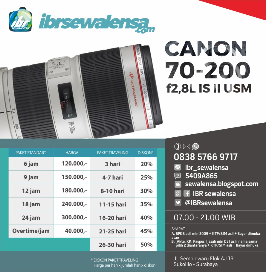 Canon 70-200 mm F2.8 L IS II USM Harga Sewa Rental Lensa Kamera