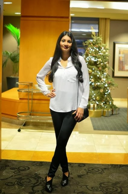 Adorable White Blouse and Black Legging, Long Bag and High Heel Shoes