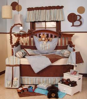 Dormitorio para bebé marrón celeste