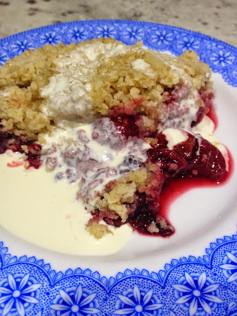 Fruit crumble on vintage blue plate with cream