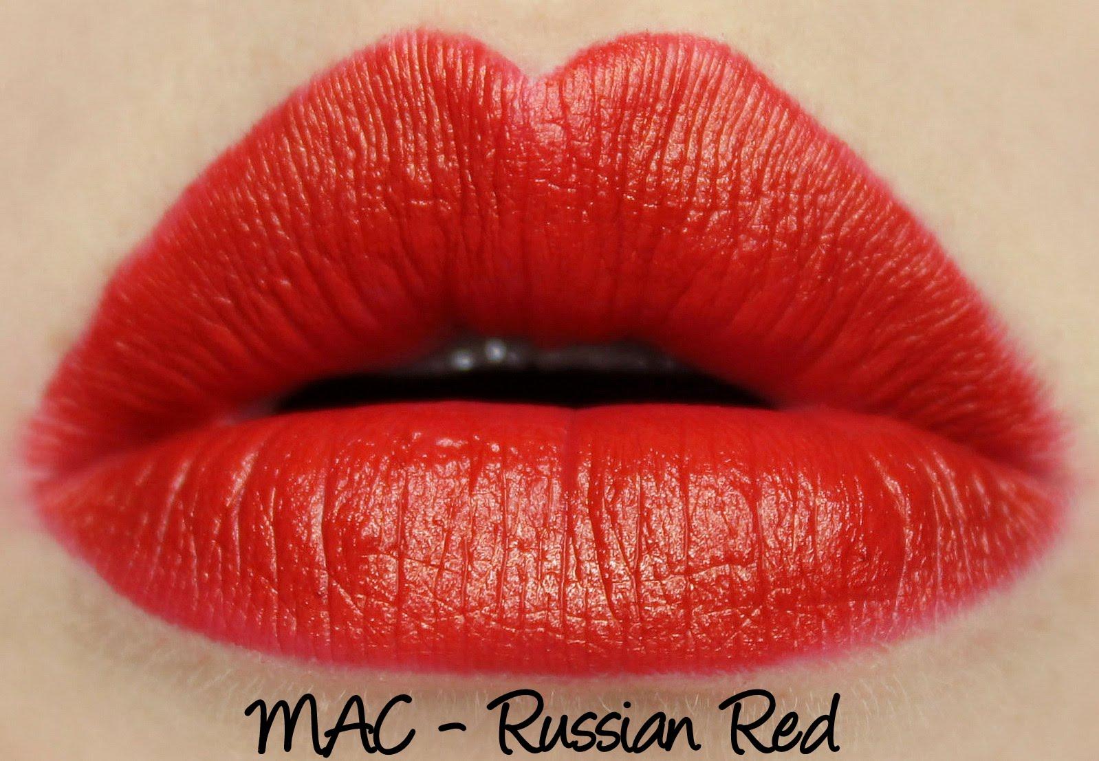 MAC Russian Red lipstick swatch