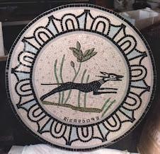 Mesa de Forja con Tapa Mosaico de Perro.