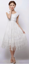 Snow White Asymmetrical Wrap Embroidered Lace Dress