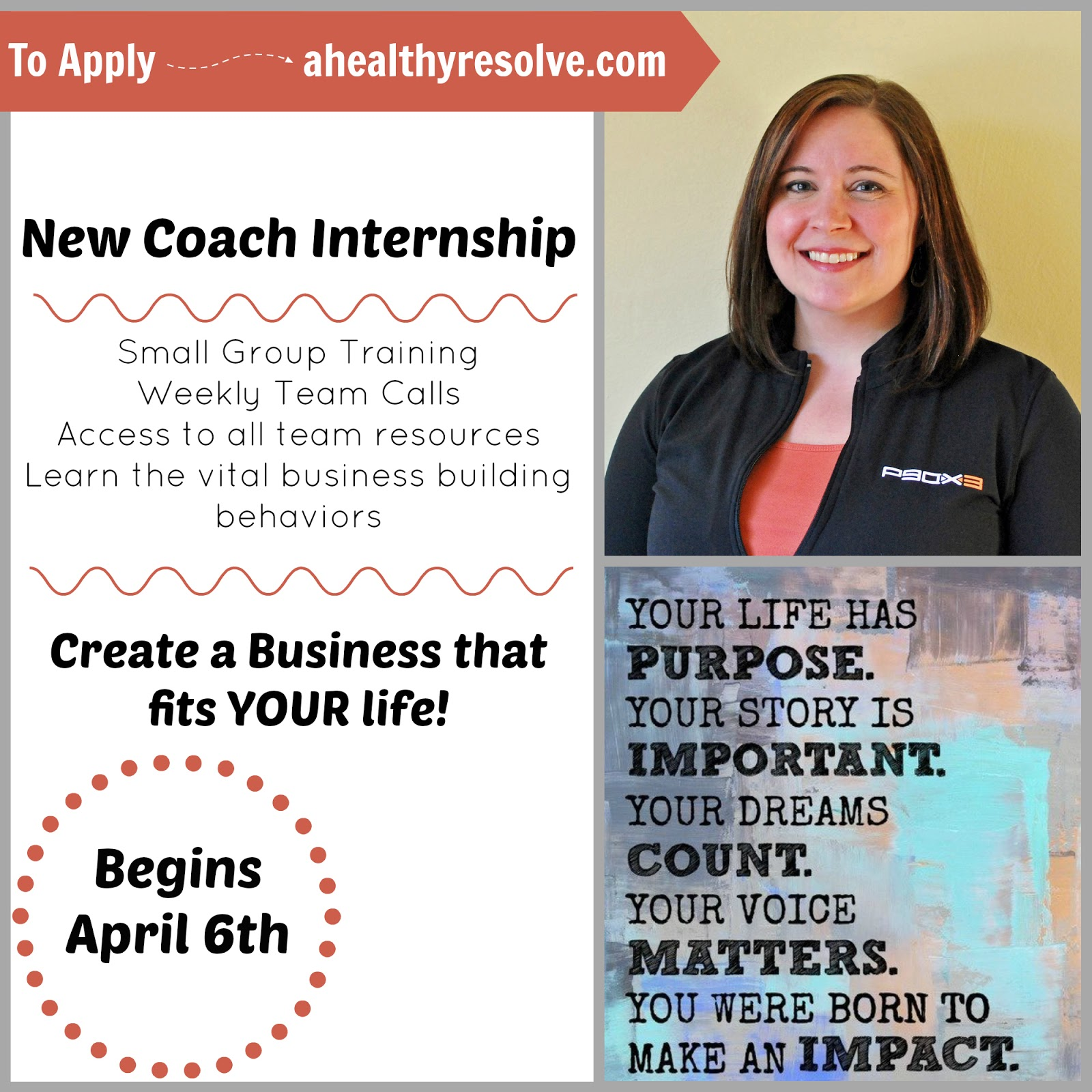 Join my next New Coach Internship program. I will give you the tools you need to succeed! - www.ahealthyresolve.com