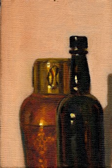 Oil painting of the top portion of an Art Deco copper vase and a black antique whisky bottle.