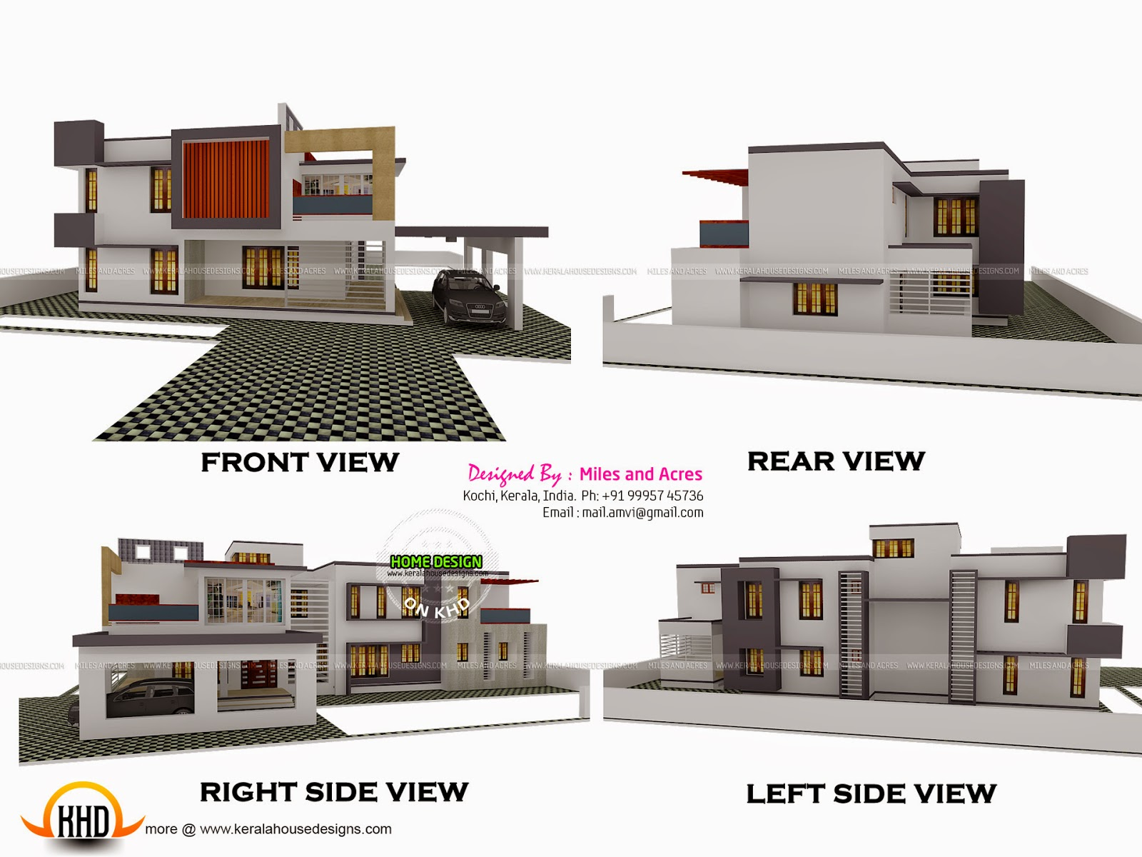 3d view with plan kerala home design and floor plans for Side by side plans