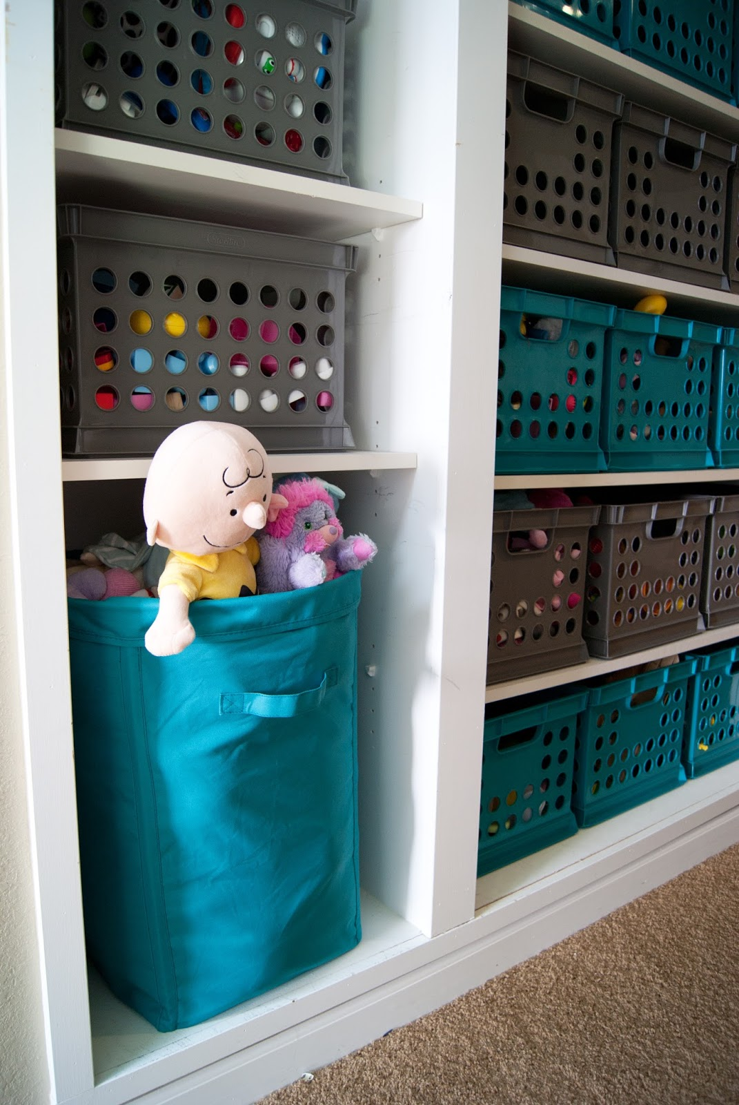 Toy Storage using Target Milk Crates and a Hamper