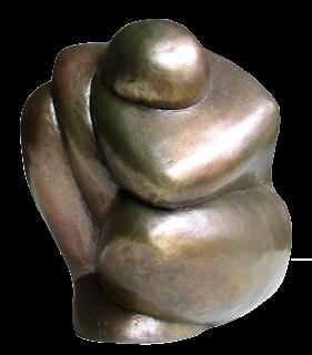 Statue style contemporain Femme nue accroupie, bras enroulés autour du cou