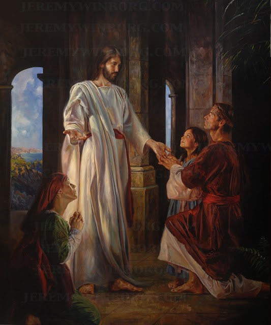Painting of the Savior blessing the Nephites from 3rd Nephi in the Book of Mormon