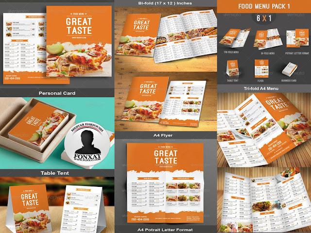 المجموعة السادسة من منيوهات الطعام food menu design