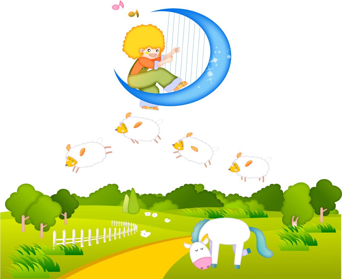 お伽話ふう動物の背景 cute cartoon backgrounds イラスト素材1
