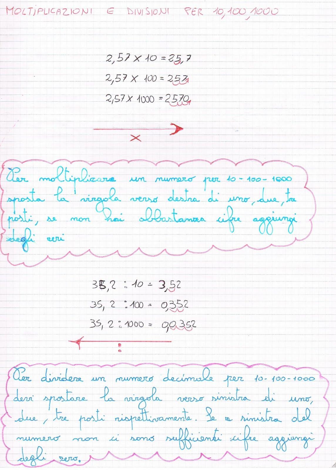 abbastanza Moltiplicazioni e divisioni per 10, 100, 1000 IA84