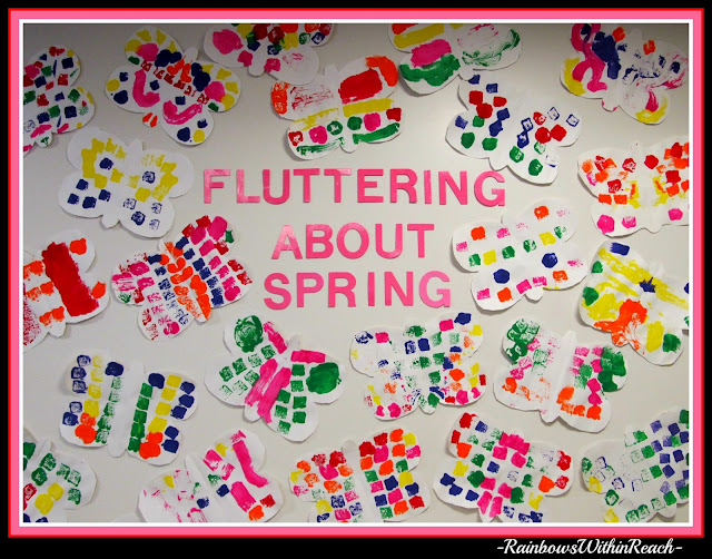photo of: Bulletin Board for Spring Butterfly Preschool Art