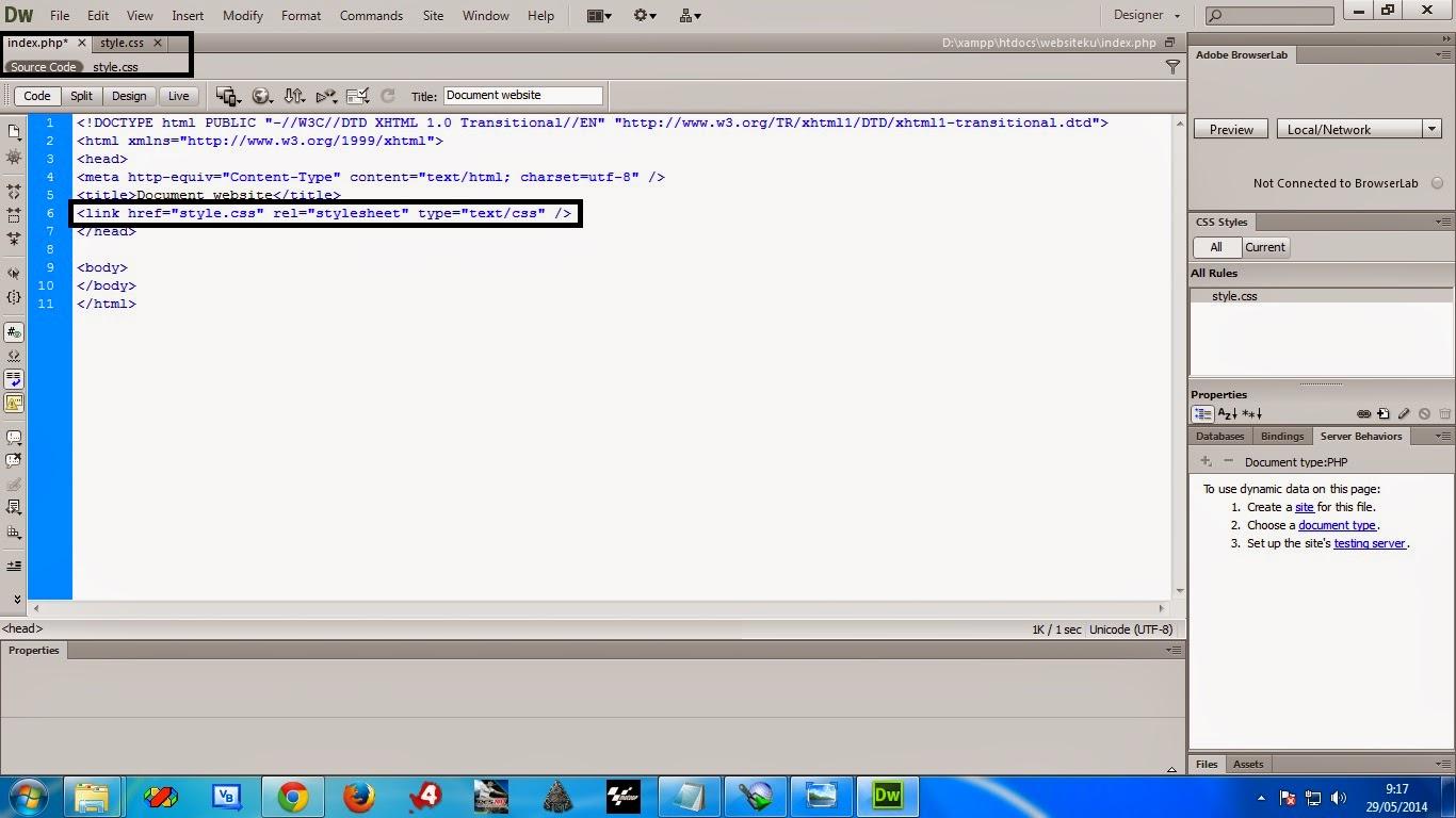script ini berguna untuk menghubungkan indeks.php dan style.css