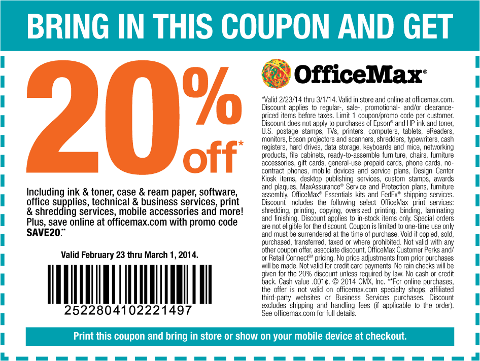 Top Office Depot & OfficeMax coupon: 20% Off Your Regular Priced Purchase. Get 21 Office Depot promo codes and printable coupons. RetailMeNot, the #1 coupon destination.