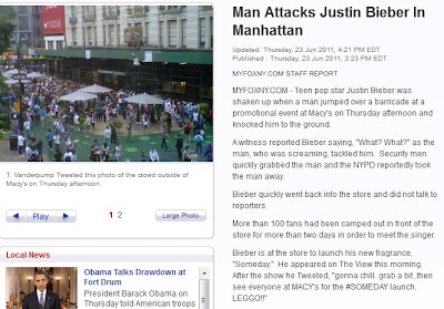 hombre golpea a justin bieber y lo tira al suelo en nueva york 2011