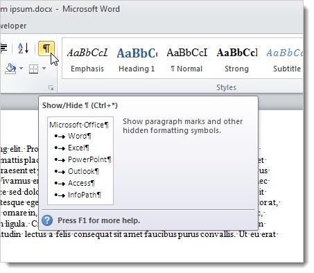 Sử dụng tính năng Reveal Formatting trong Word 2010 5