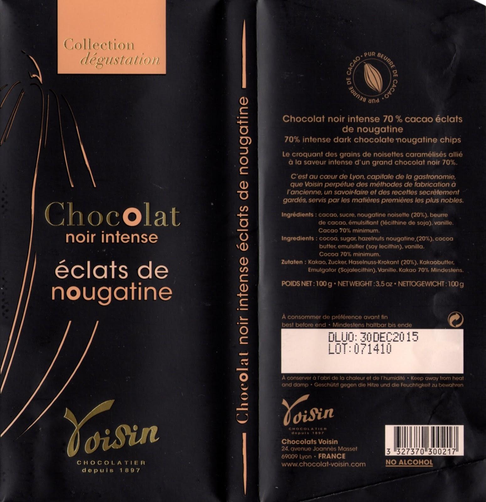 tablette de chocolat noir gourmand voisin noir intense eclats de nougatine