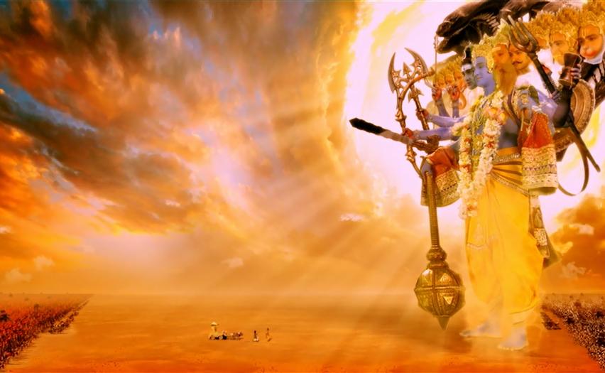 Arjuna dengan krishna bhagavadgita versi film mahabharata di antv