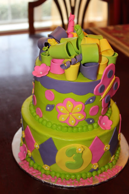 A Blissful Bash Colorful flower birthday cake